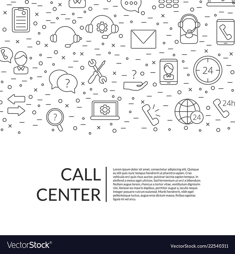 Line call support center icons background