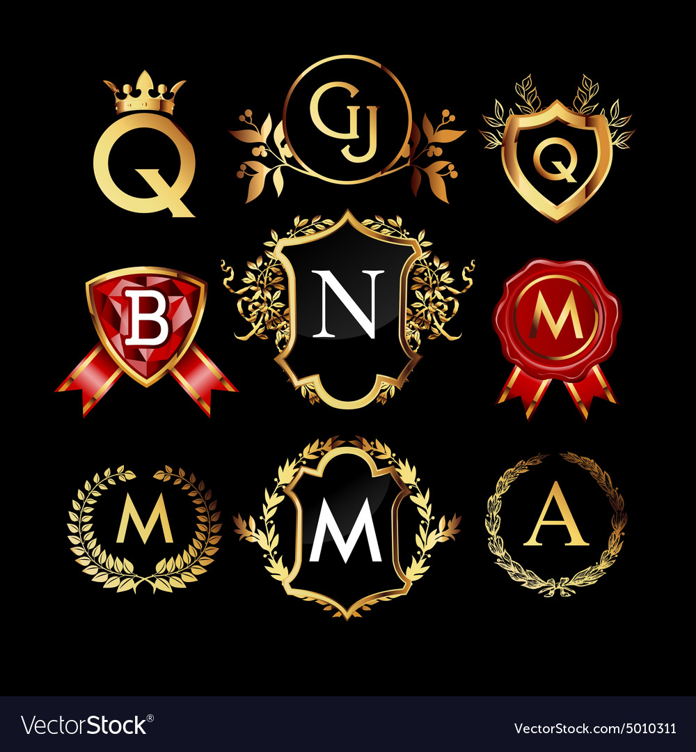 set of luxury monograms royalty free vector image
