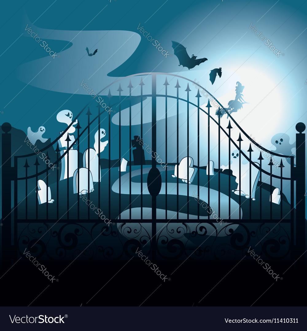 Spooky Halloween Cemetery vector image