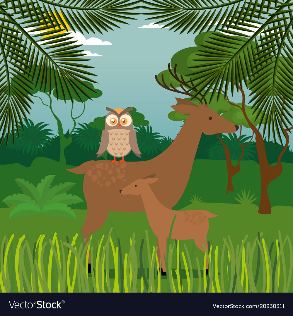 Wild animals in the jungle scene