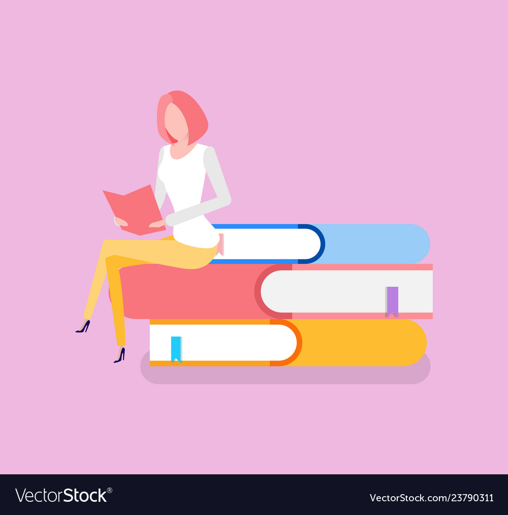 Woman sitting on pile of books education knowledge