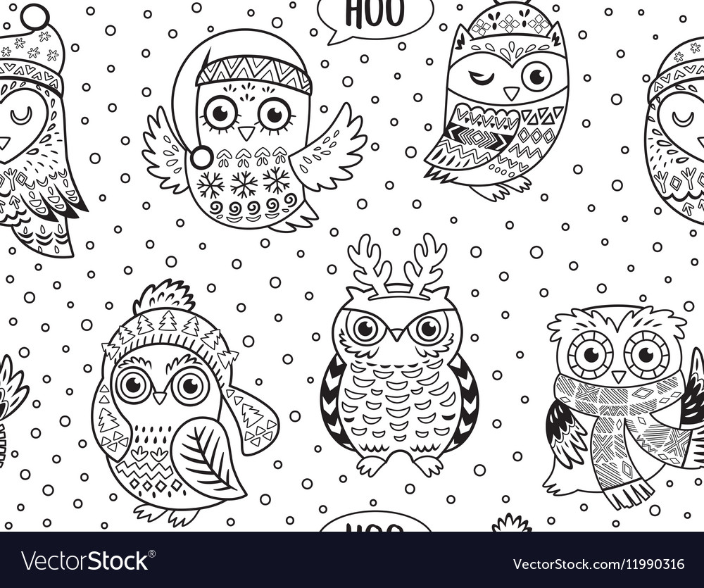 Black and white winter owls seamless pattern vector image