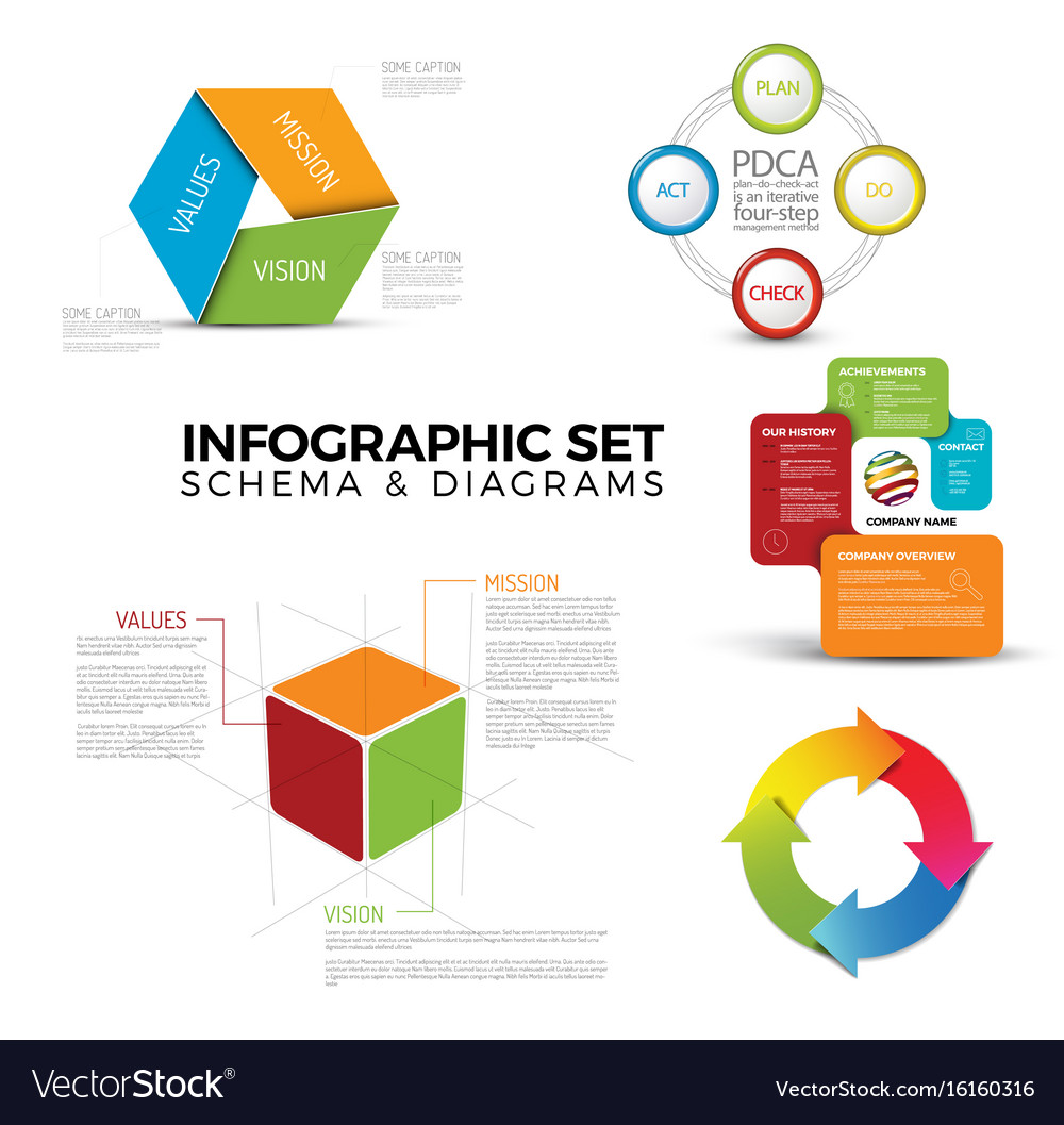 Collection of diagram schema templates royalty free vector collection of diagram schema templates vector image ccuart Image collections