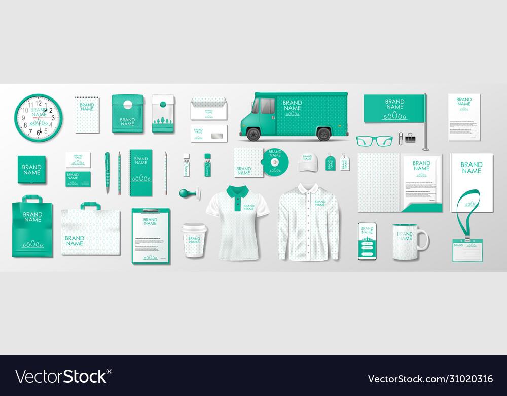 Corporate brand identity mockup green color