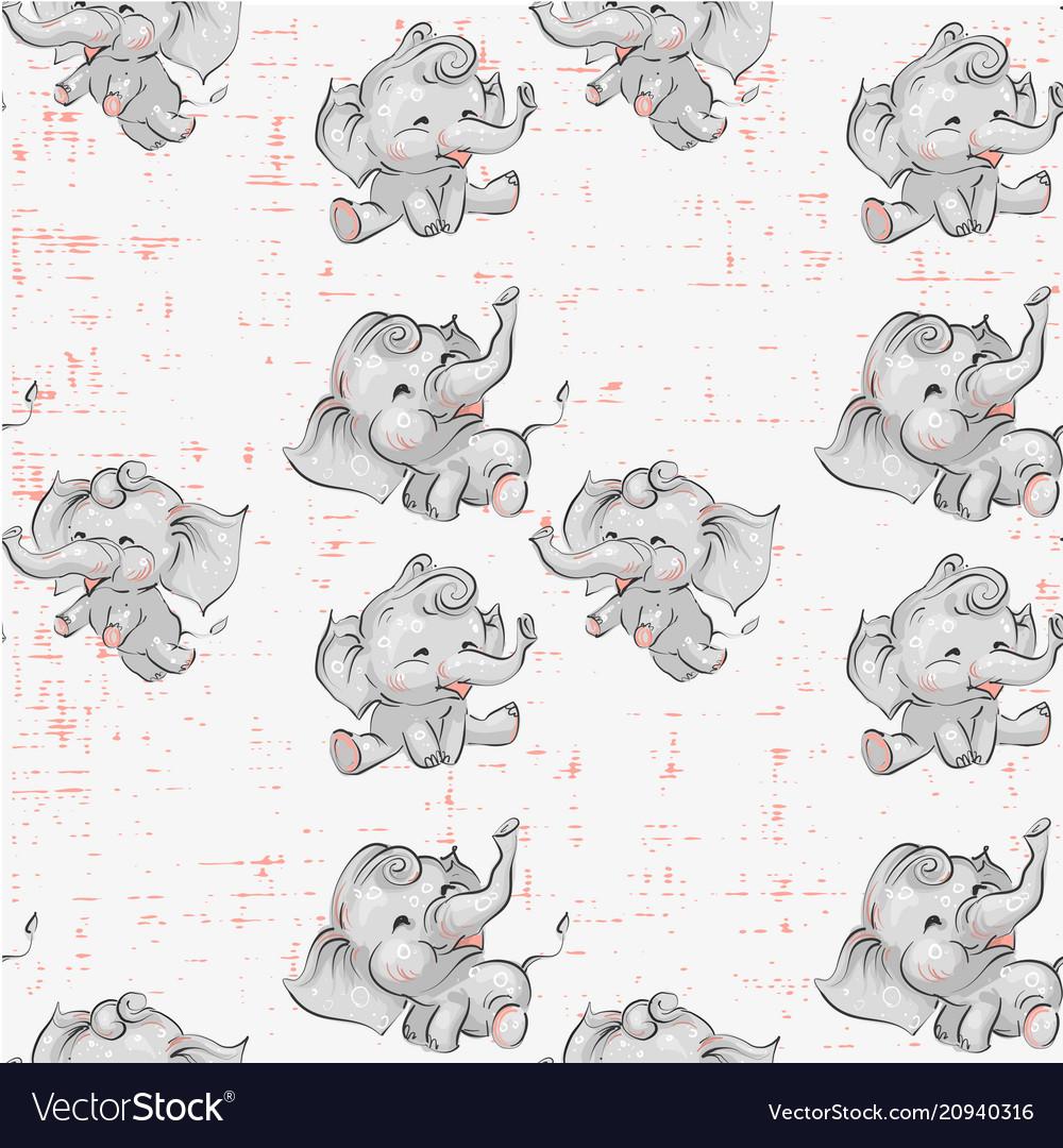 Cute baby elephants seamless pattern hand drawn