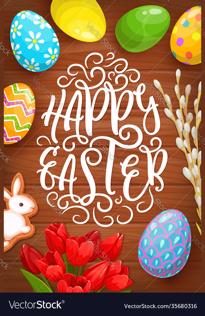 Easter eggs bunny and flowers greeting card