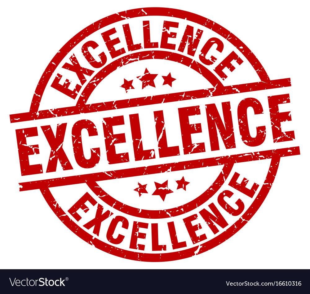 Excellence round red grunge stamp