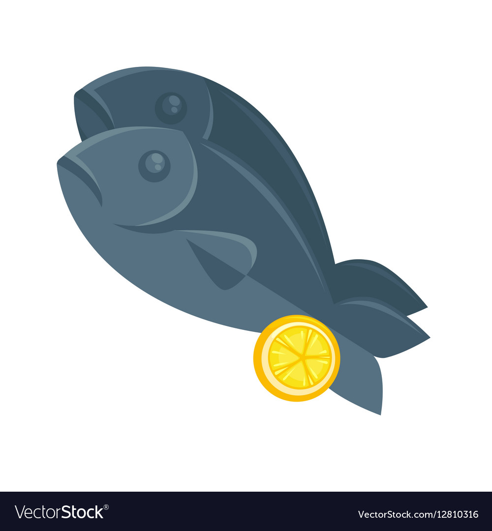 Fish with lemon in cartoon style vector image