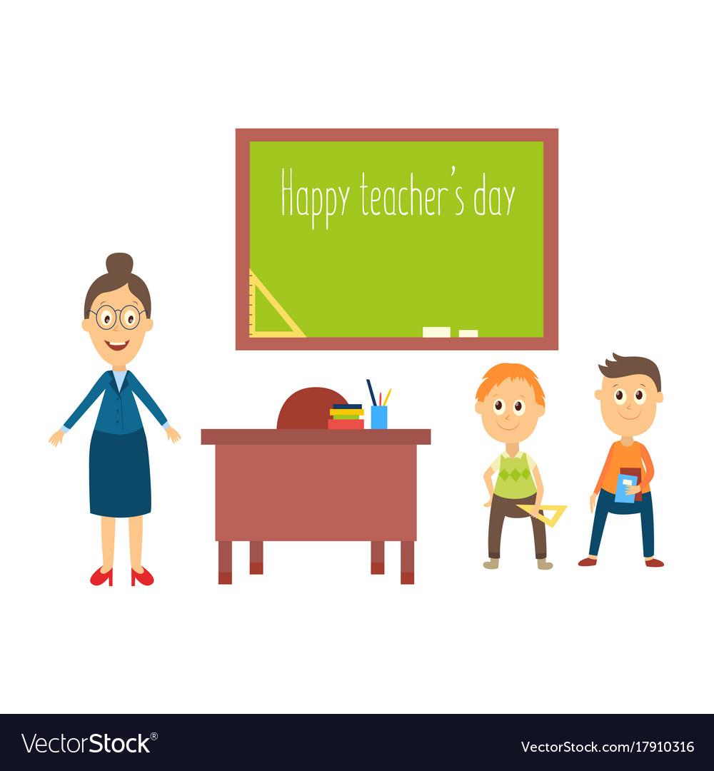 Flat cartoon teacher and pupils in vector image