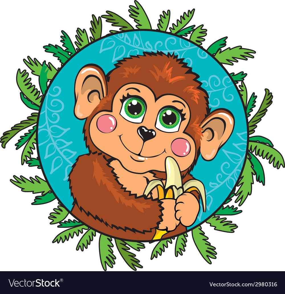 Funny monkey with a banana in her hand In the