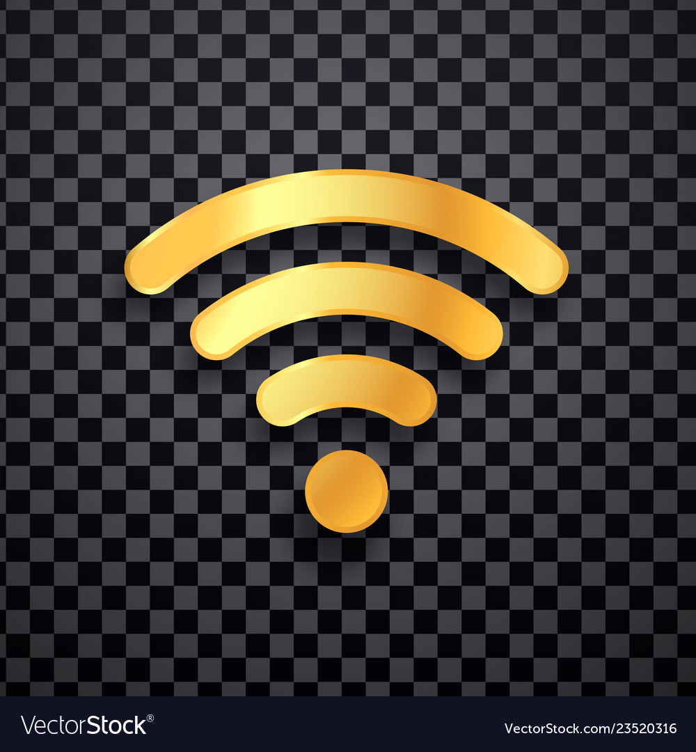Golden wifi icon gold wi fi wireless sign