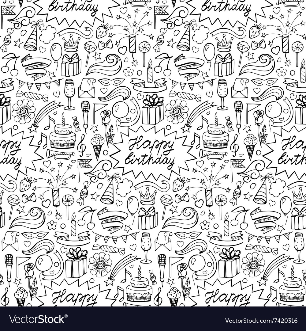 Happy birthday hand drawn seamless pattern