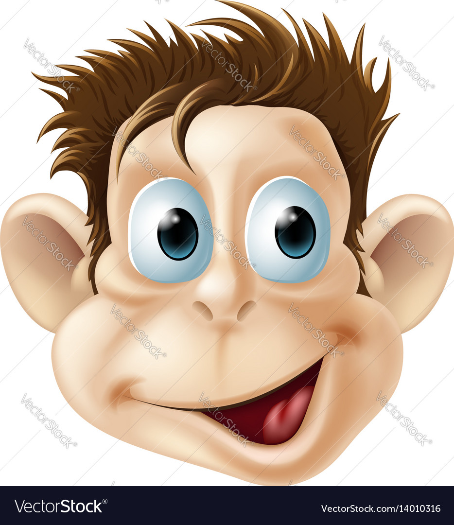 Laughing happy monkey face cartoon vector image