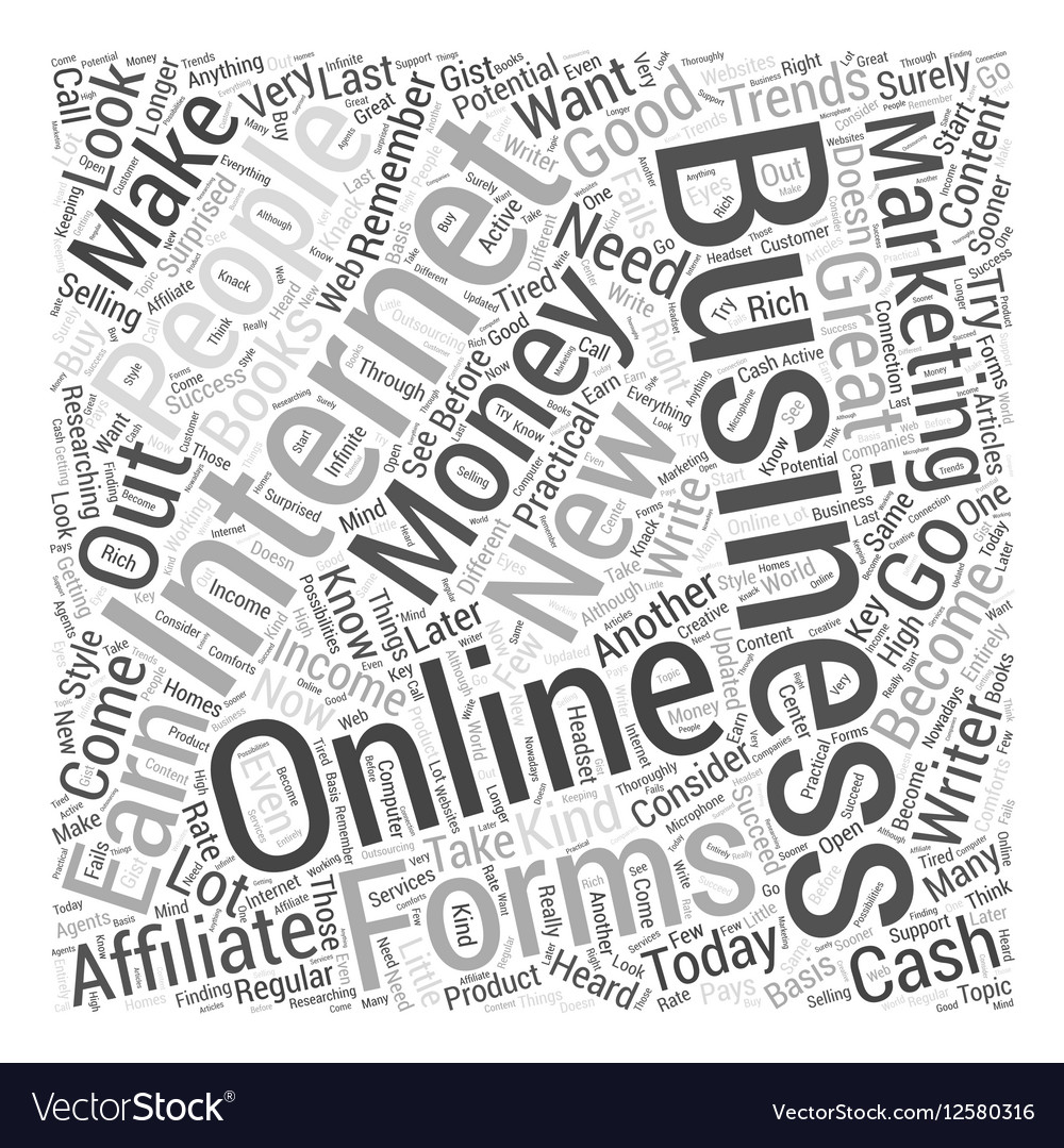 Making Some Cash from the Internet Word Cloud vector image