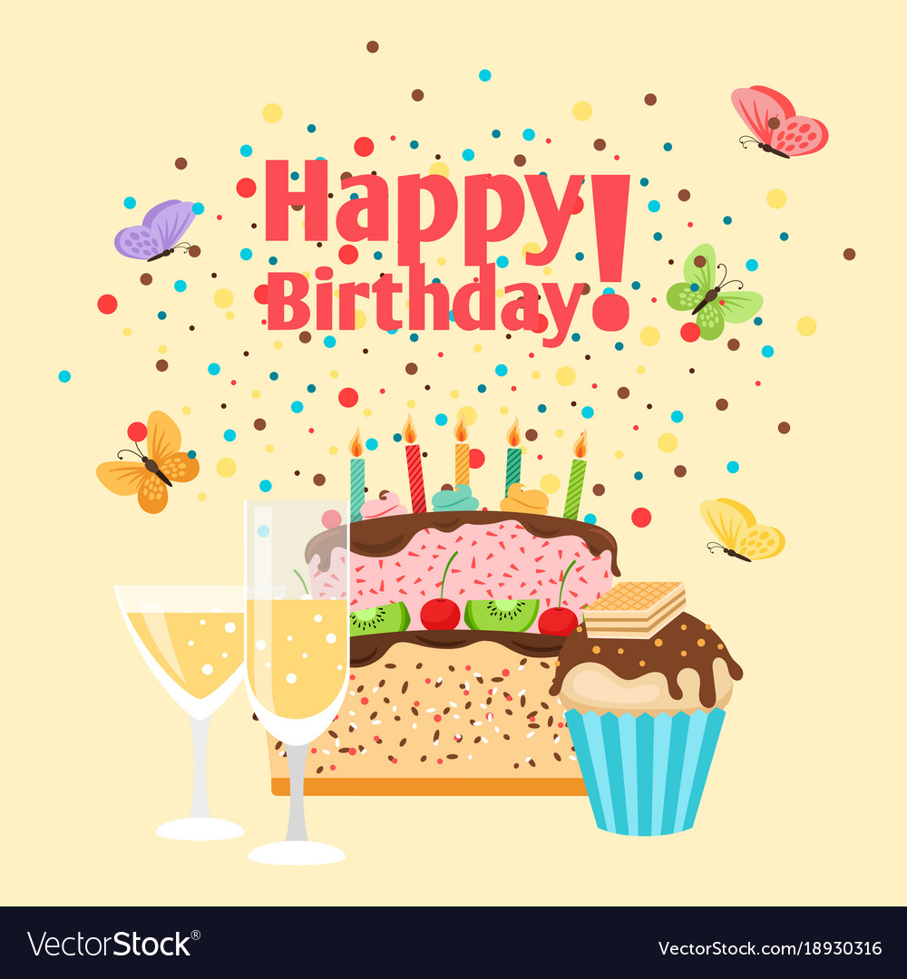 Muffin Cake And Champagne Birthday Card Royalty Free Vector