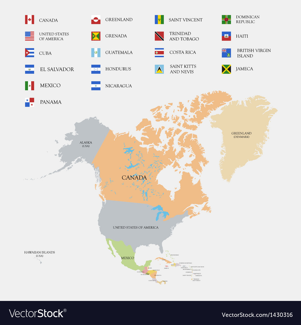 Free North America Map.North America Map And Flags Royalty Free Vector Image