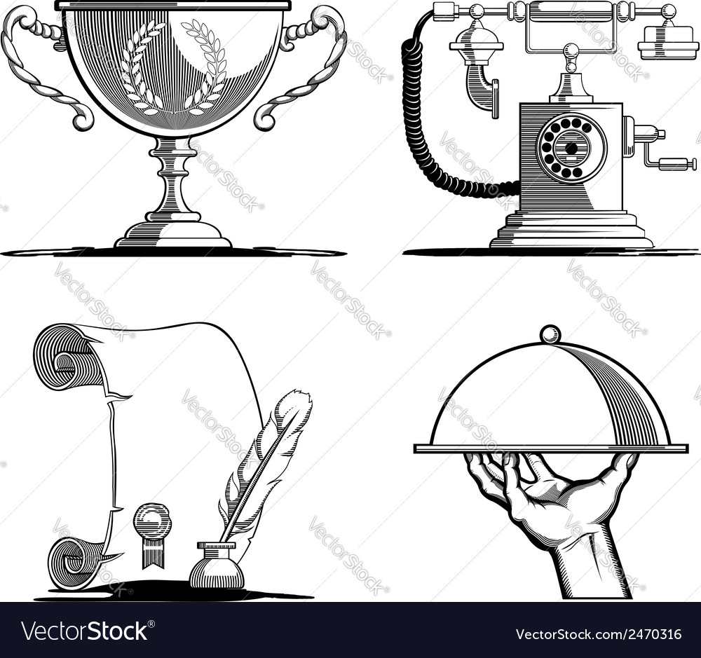 Retro Icons Old Script Telephone Tray Trophy vector image