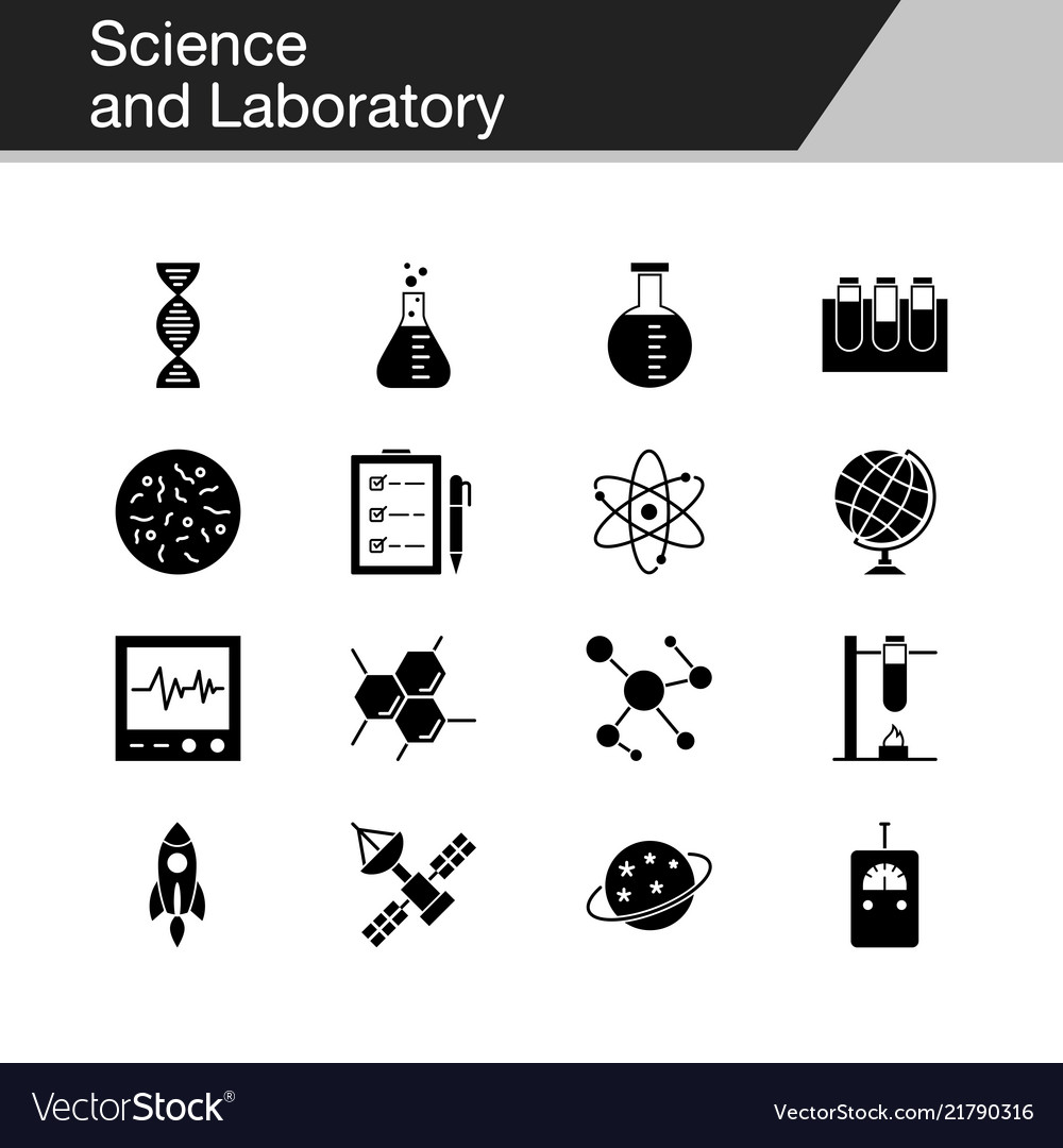 Science and laboratory icons design for