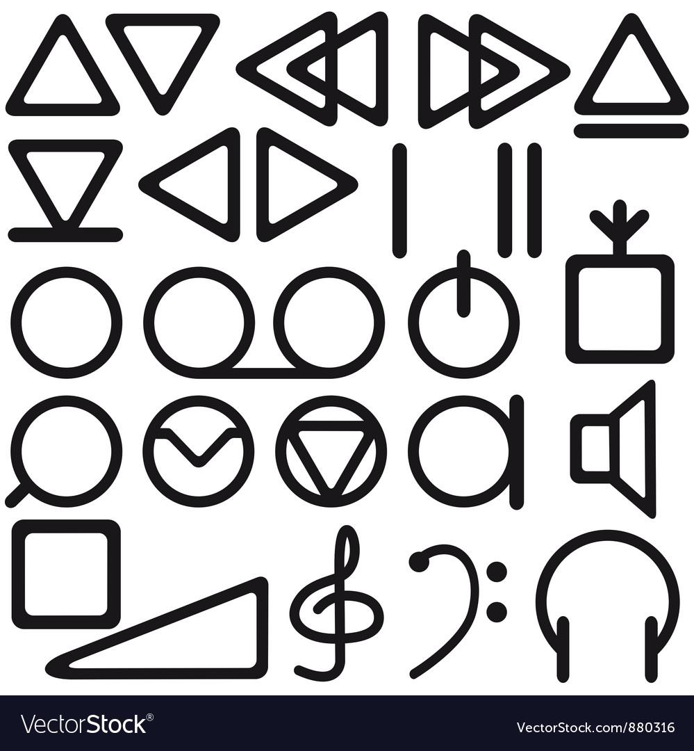 Tape recorder symbols Royalty Free Vector Image