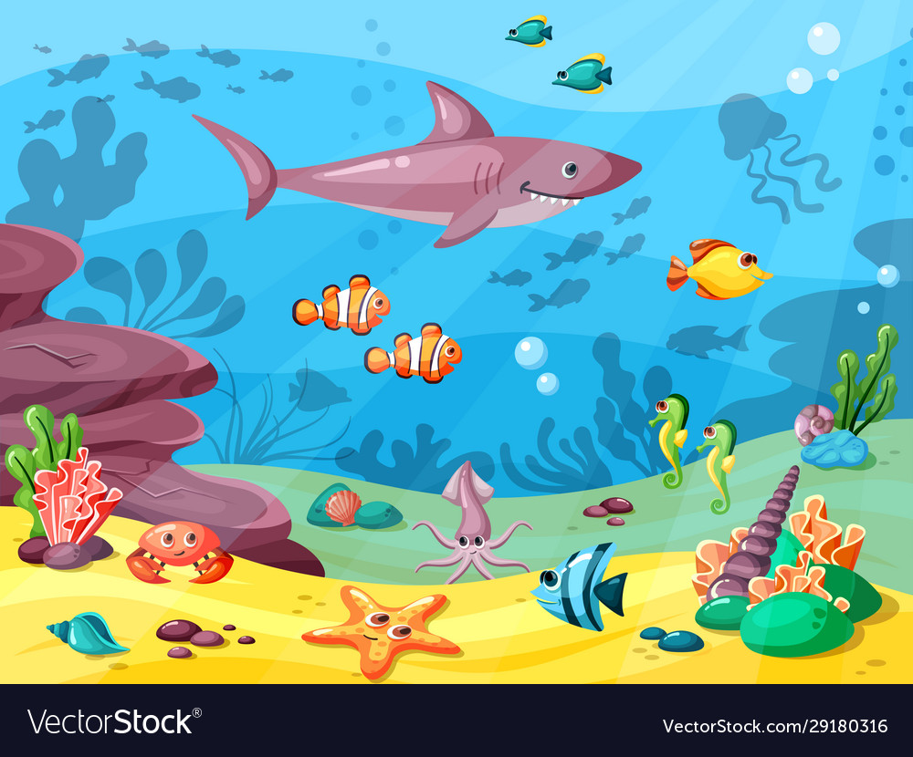 Underwater life wild animals in ocean or sea