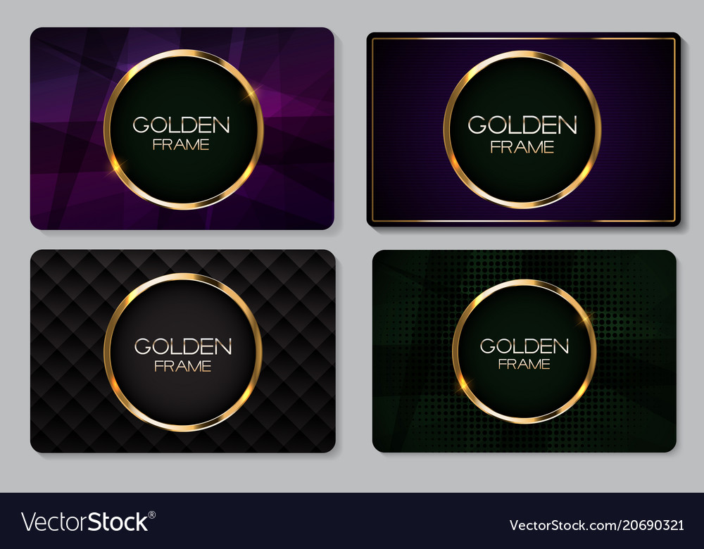Abstract business card with golden frame Vector Image