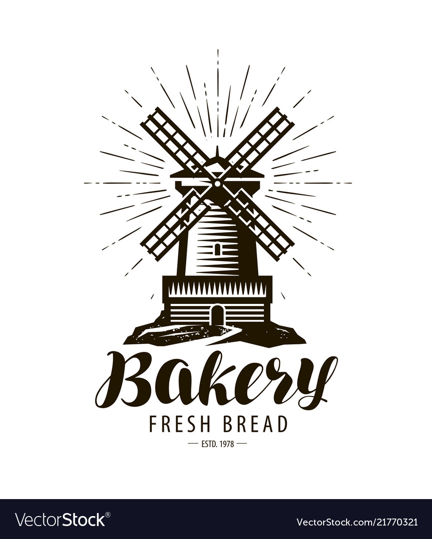 Bakery bakehouse logo or label windmill mill