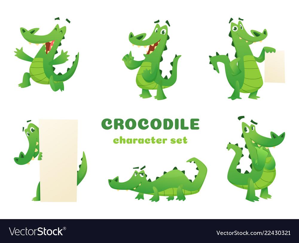 Cartoon crocodile characters alligator wild