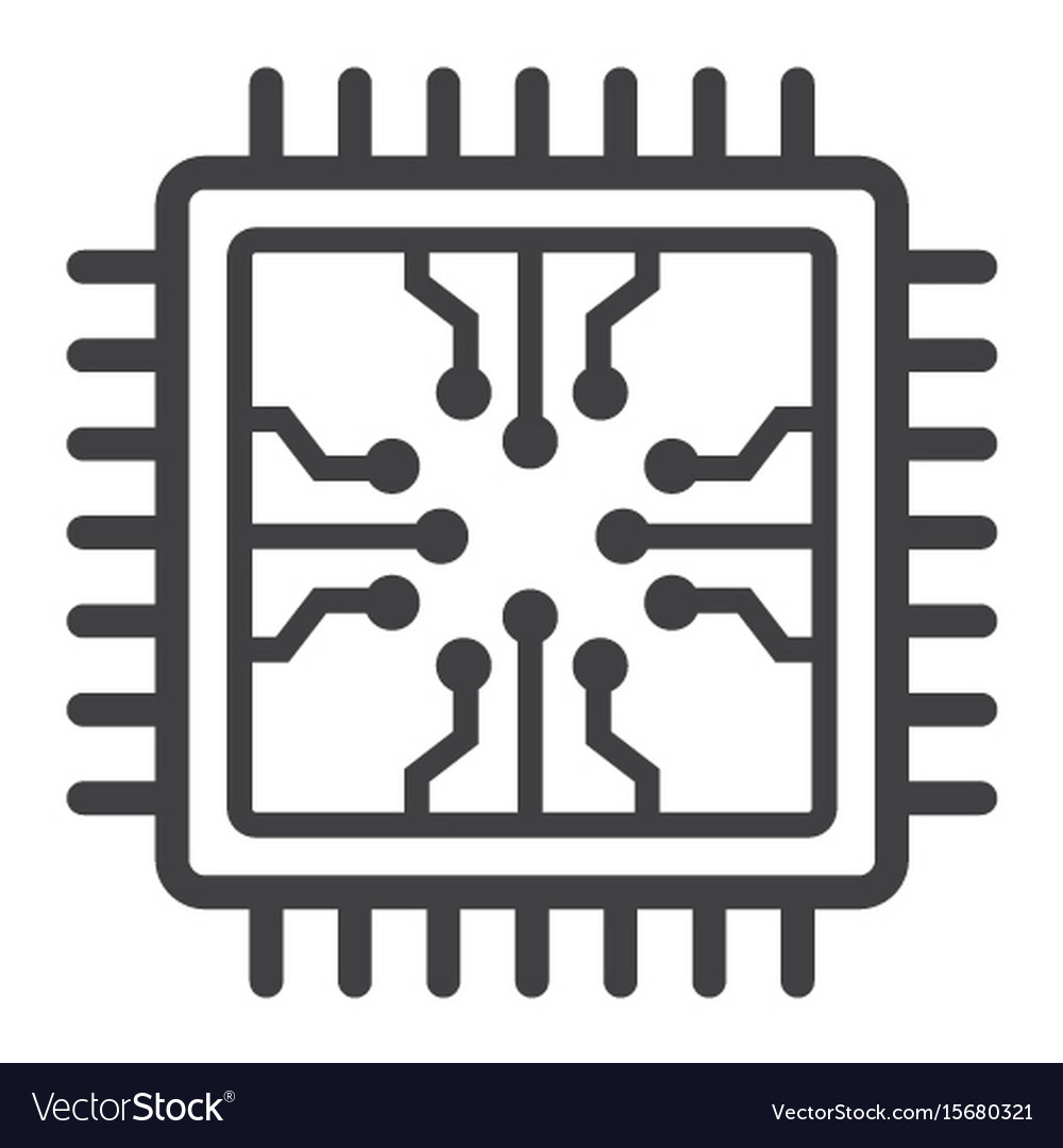 Chip line icon circuit board and cpu Royalty Free Vector