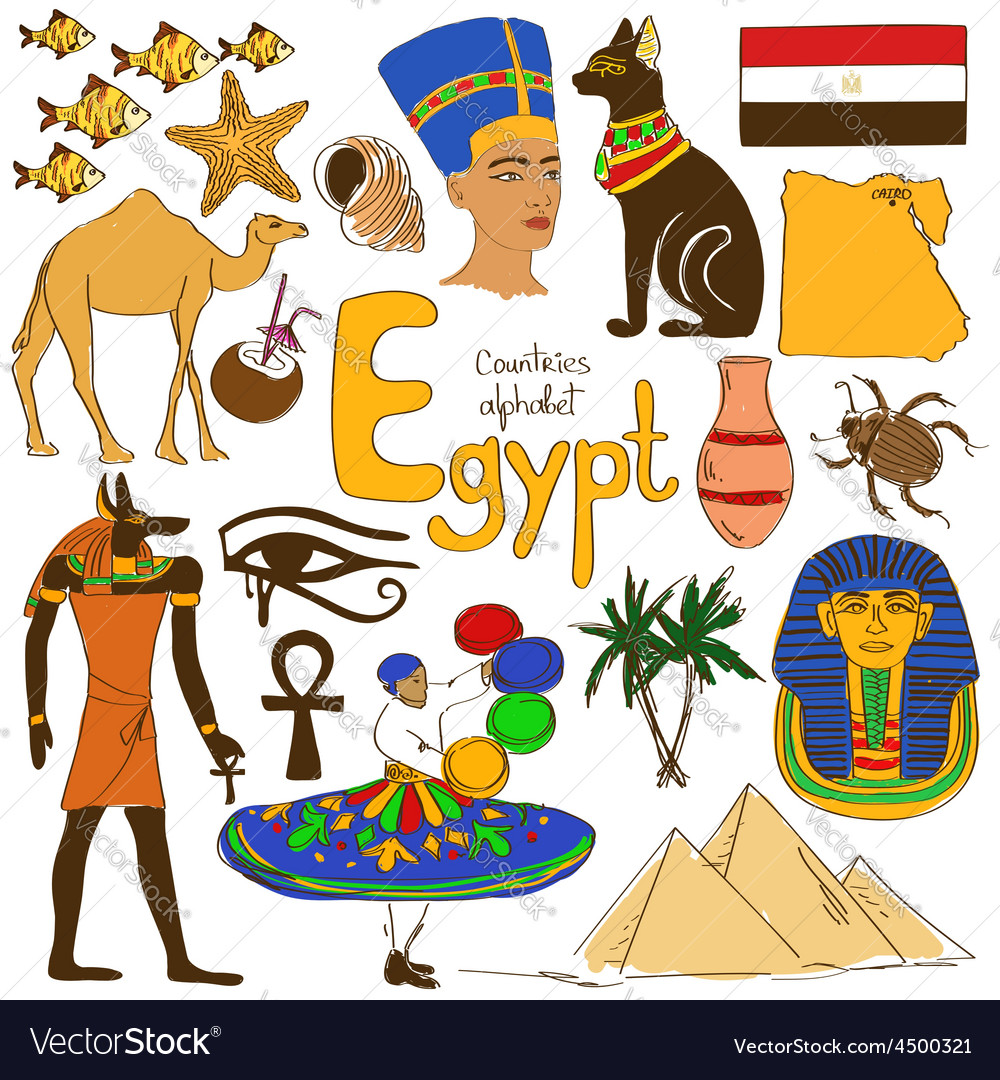 Collection of Egypt icons vector image
