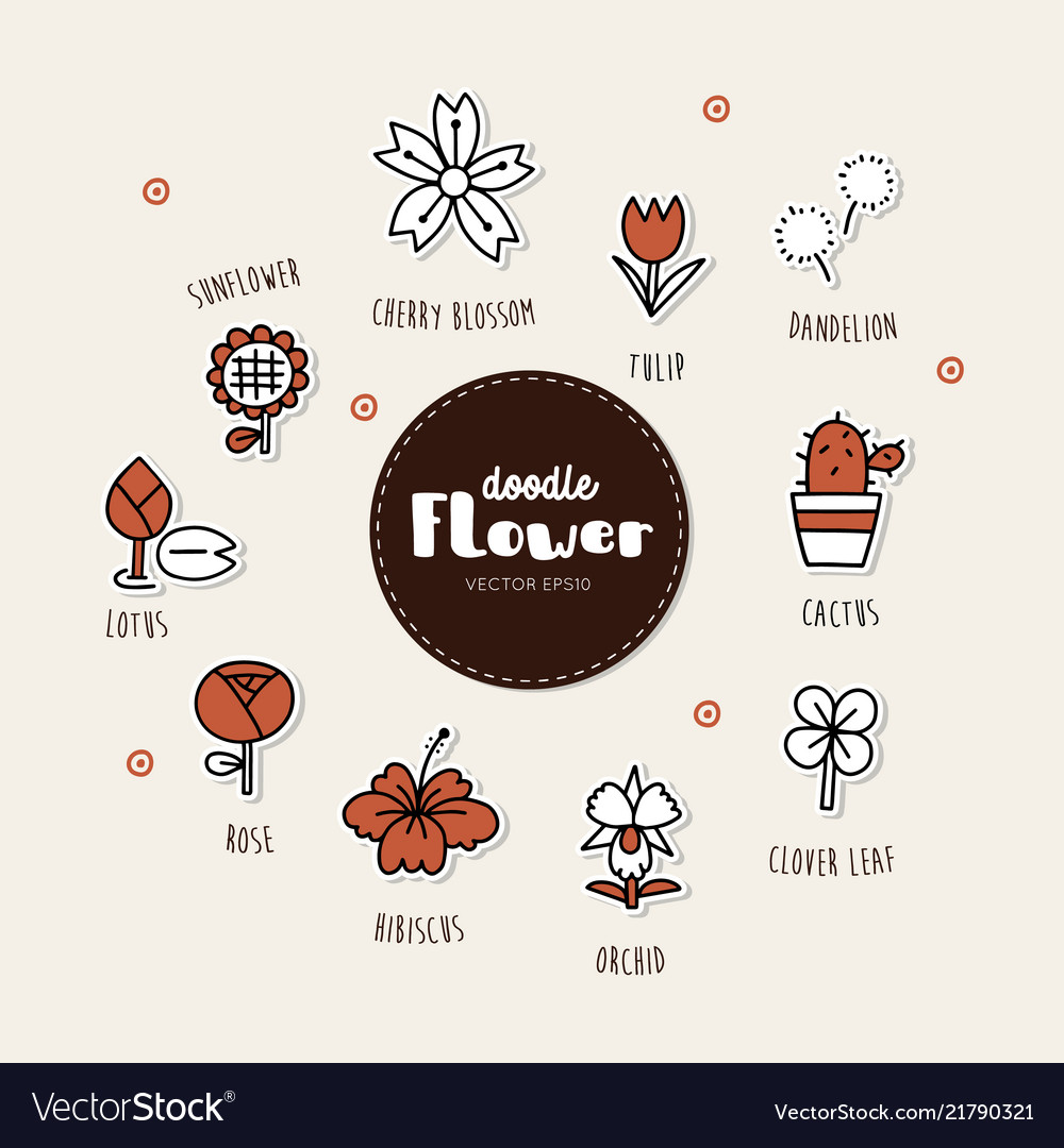 Flower hand drawn doodle icons set