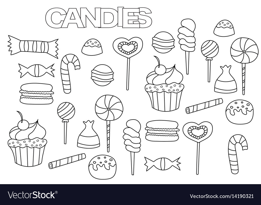 Hand drawn candy bar set coloring book page