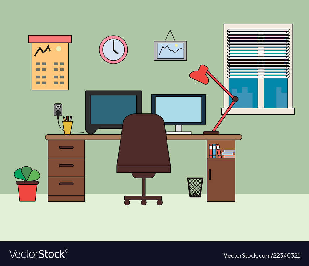 Home Office Workplace Flat Royalty Free Vector Image