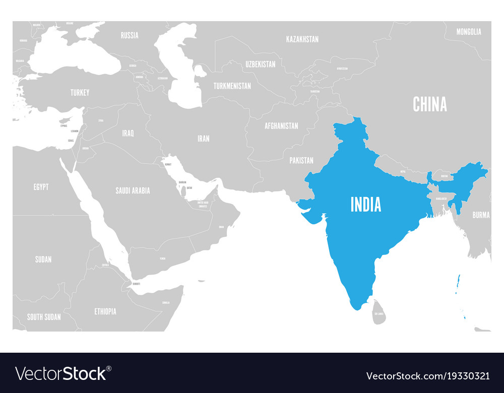 Political Map Of Se Asia.India Blue Marked In Political Map Of South Asia
