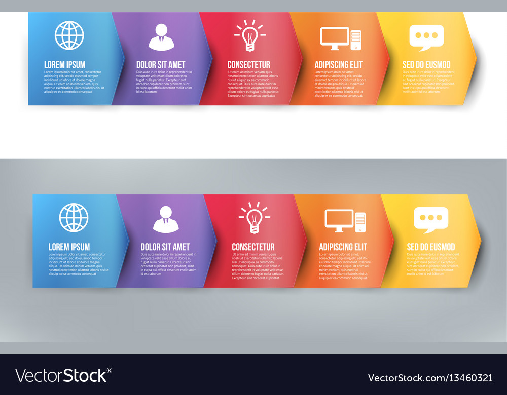 Infographics with 5 steps or options arrows