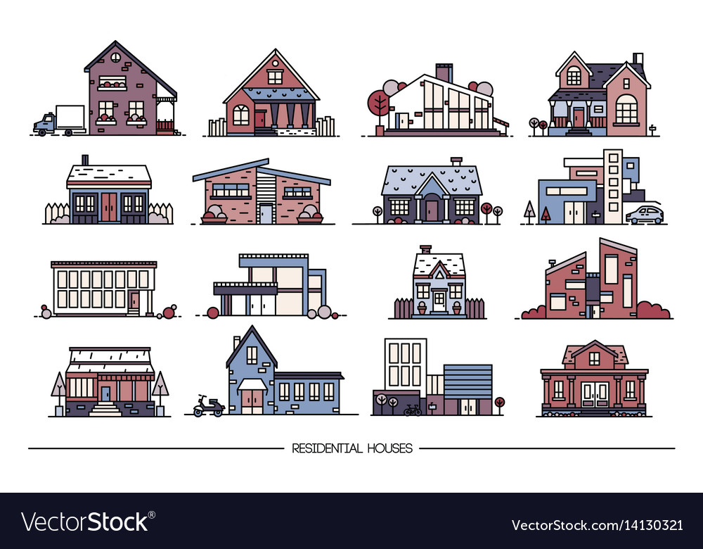 Line art residential house collection set of flat