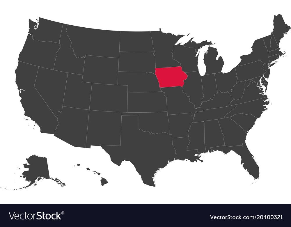 Map Of Usa Iowa Royalty Free Vector Image Vectorstock