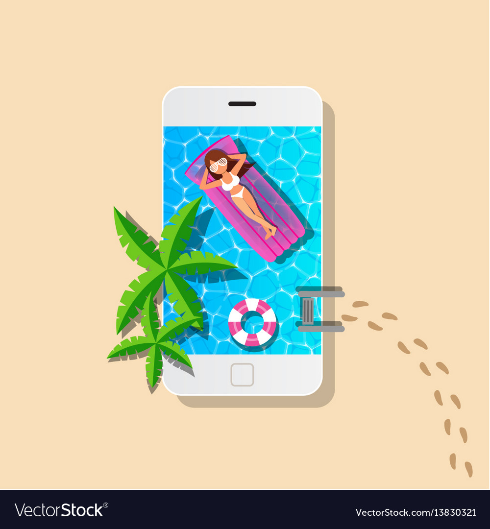 Mobile and swimming pool with woman relaxing