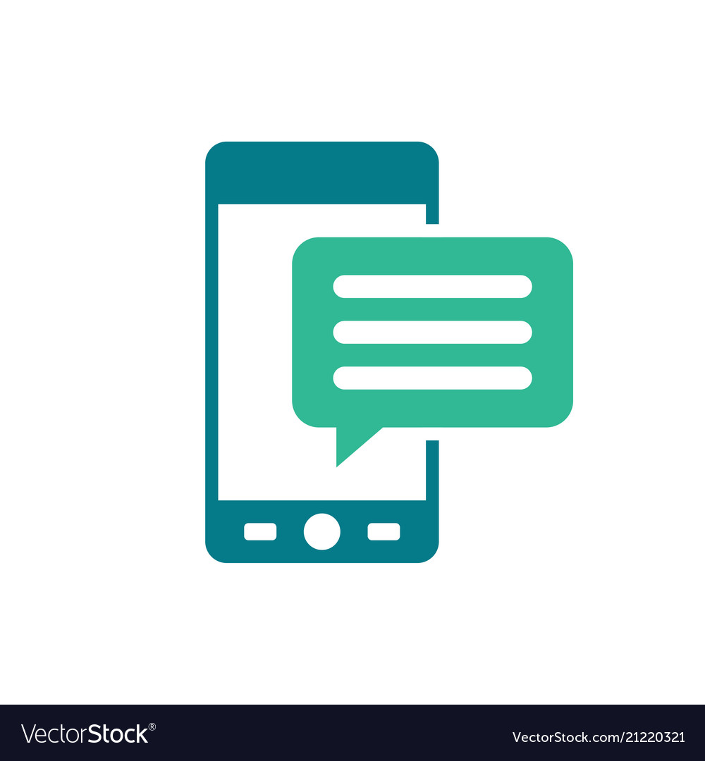 Mobile icon with text message - speech bubble