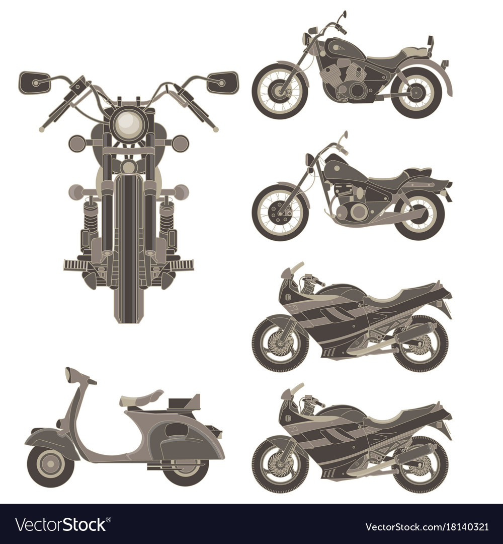 Motorcycle icon set isolated side view flat