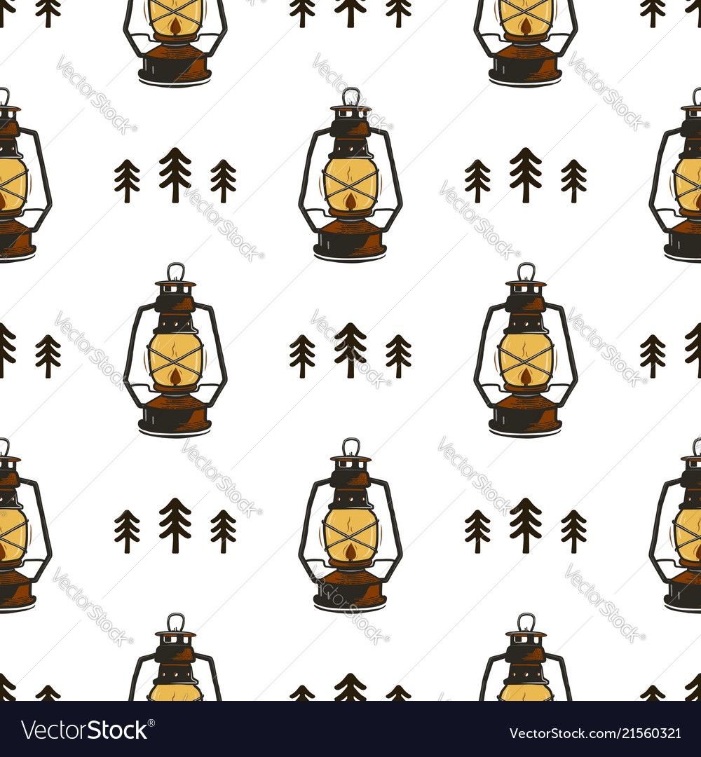 Retro camp seamless pattern with lanterns and