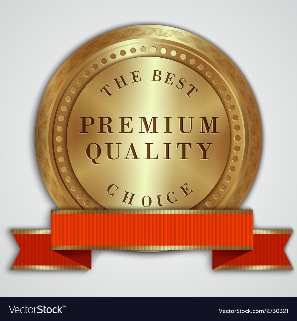 Round golden badge label with red ribbon and text