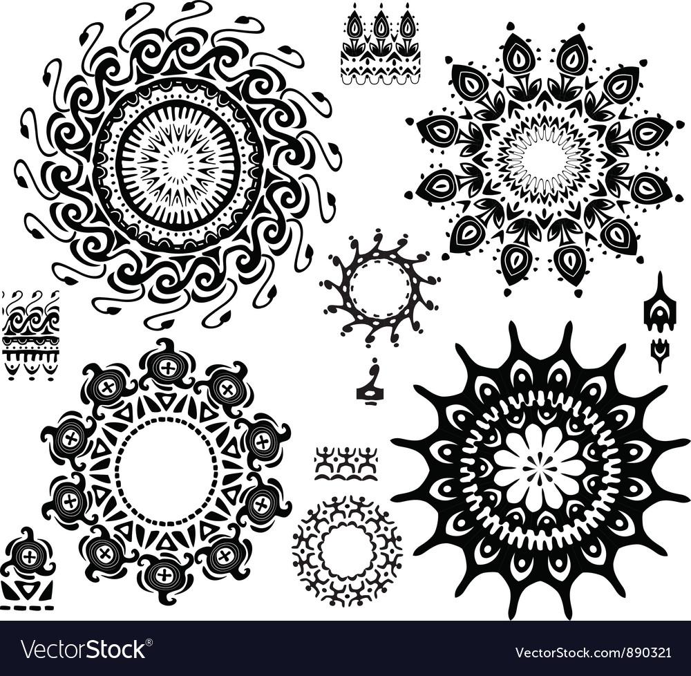 Set of ornamental pattern vector image