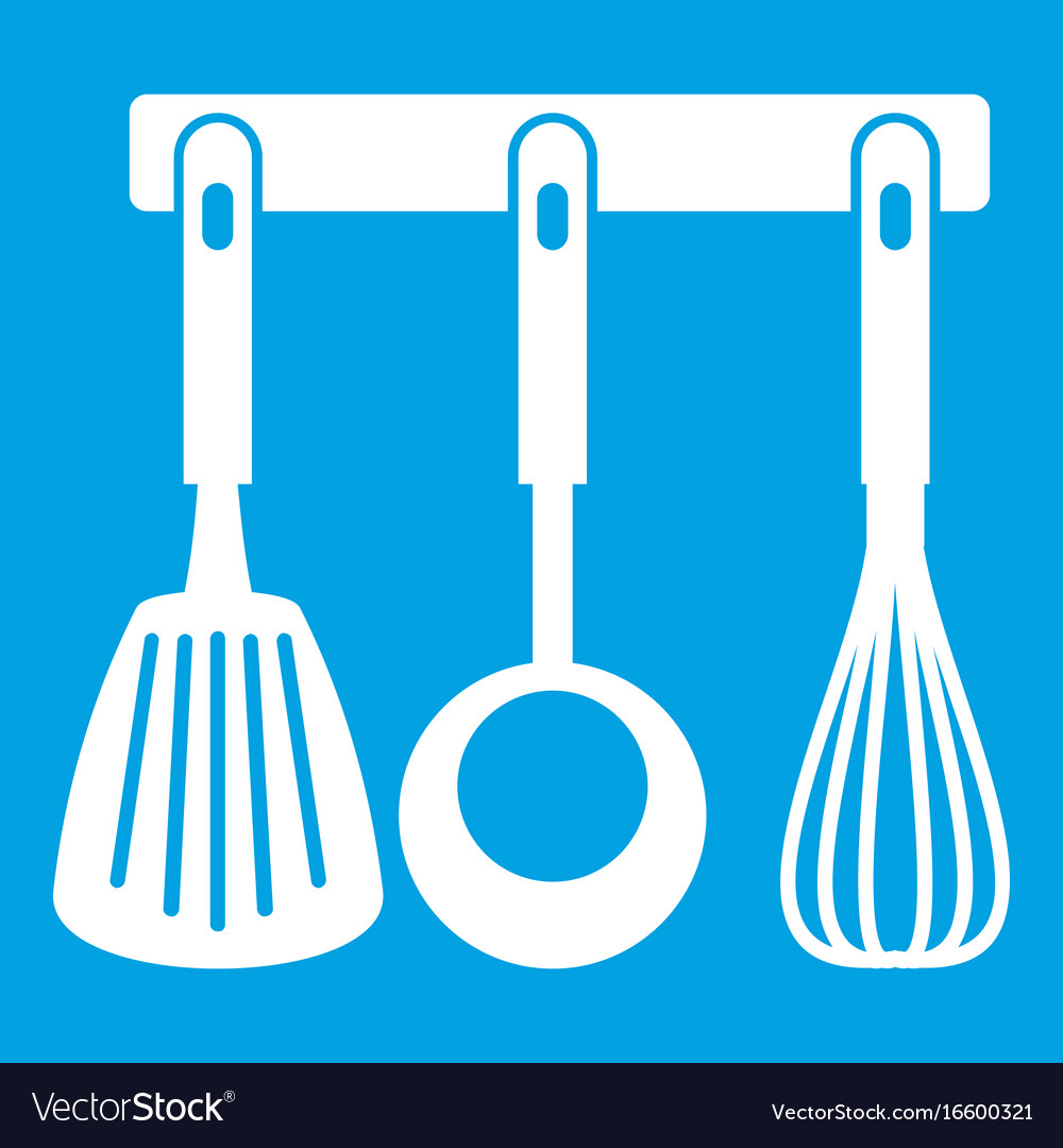 Spatula ladle and whisk kitchen tools icon white Vector Image