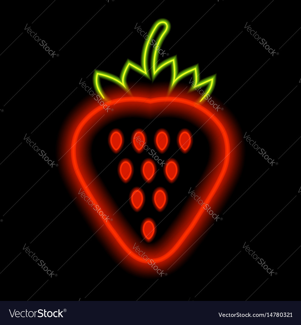 Strawberry neon lights against a black background