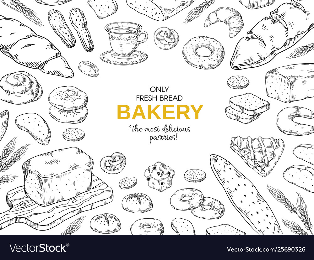 Bakery frame hand drawn bread and cookies banner