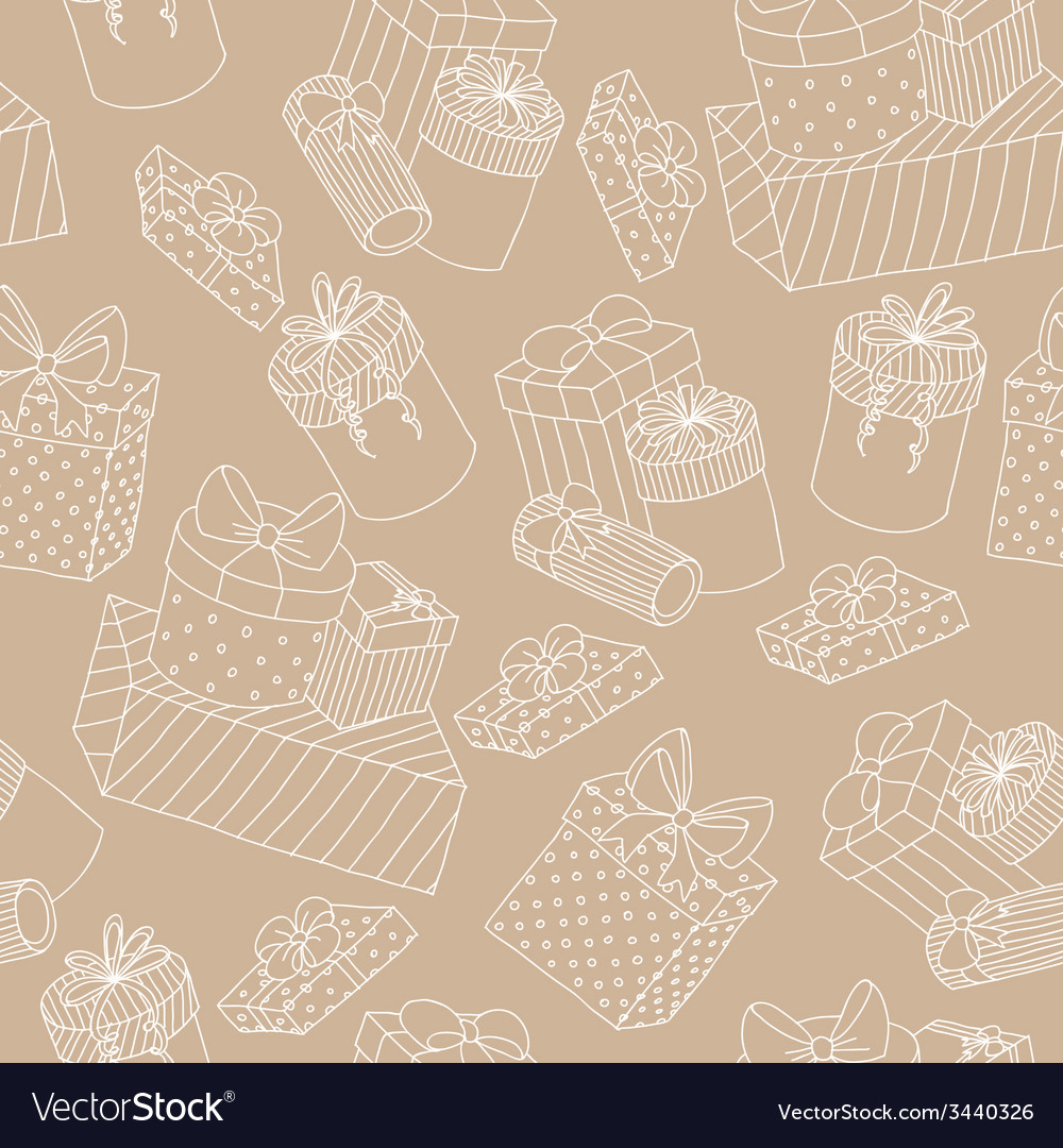 Beige seamless pattern with boxes of presents