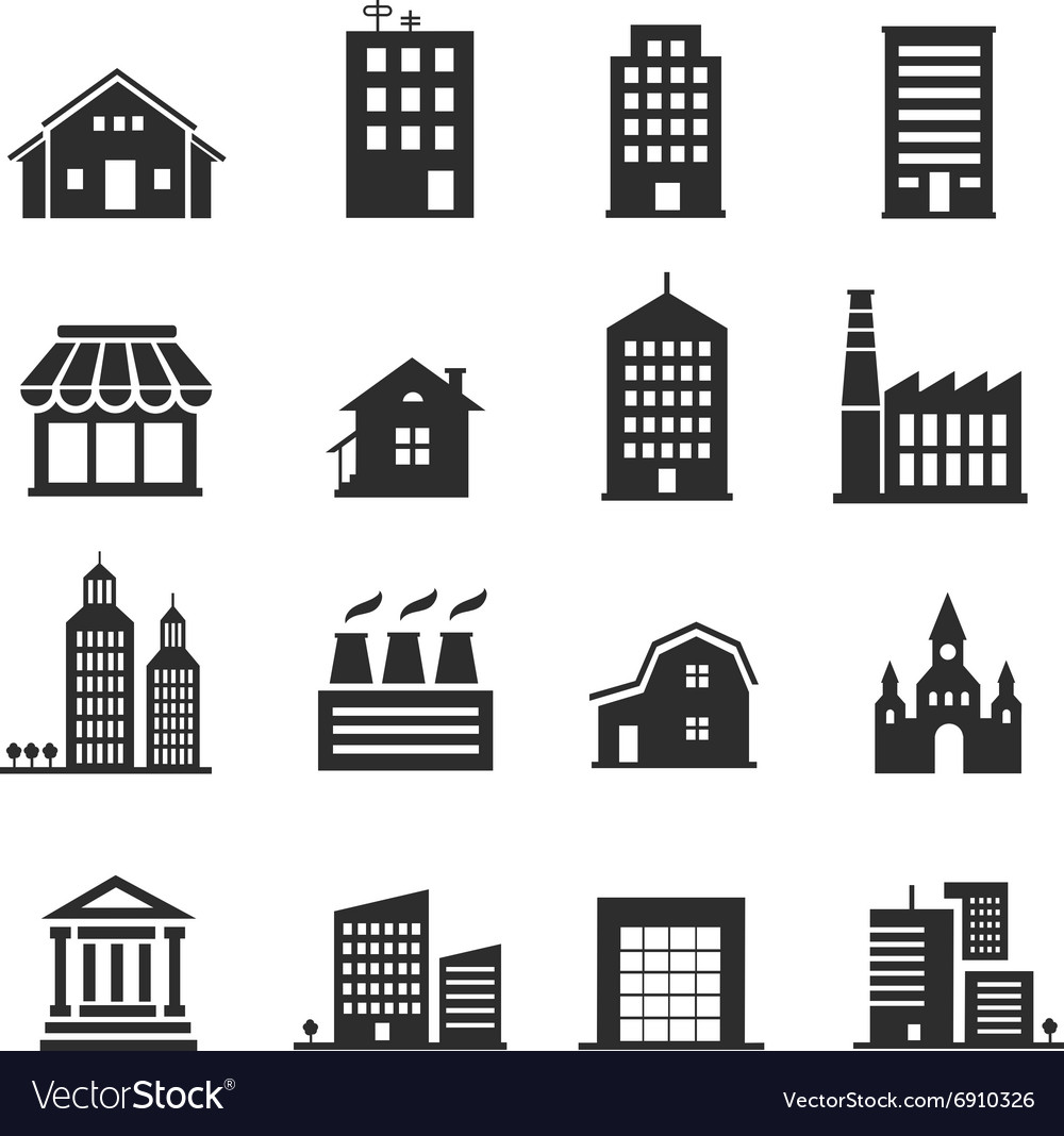 Building shop icon set