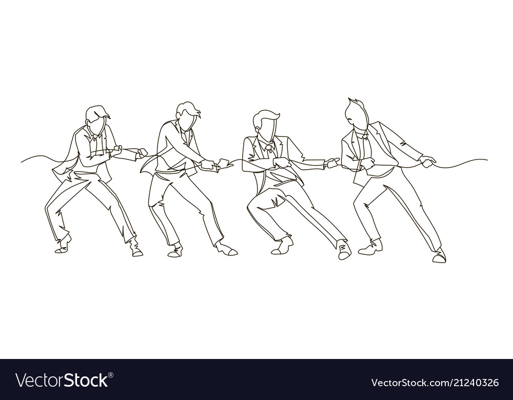 Businessman pulling the rope continuous line art