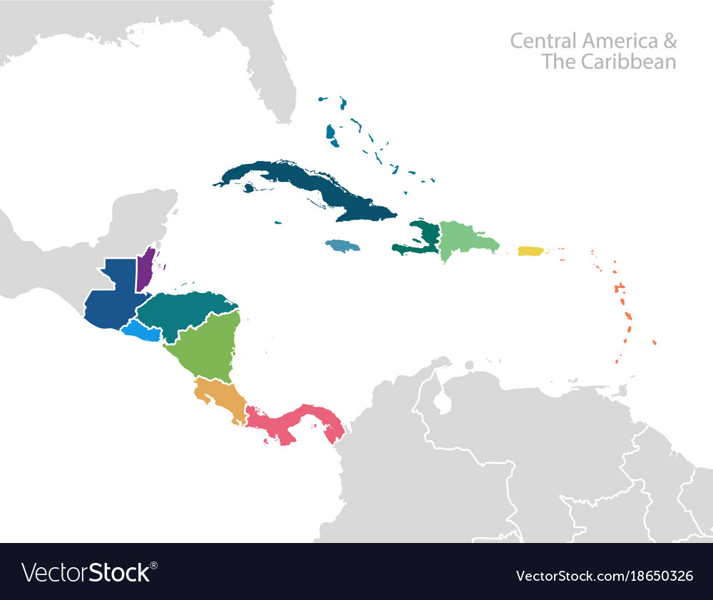 Cenral America Map.Central America And The Caribbean Map Royalty Free Vector
