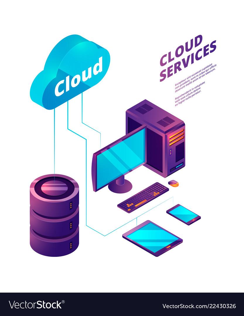 Cloud services 3d online safety computer